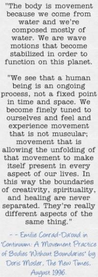 Continuum Movement Quote from Emilie Conrad