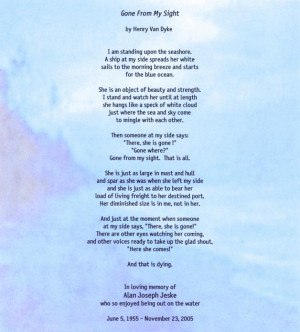 Gone from my sight poem in memory of Alan Jeske