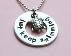 turtle necklace, just keep swimming, inspiration quote,slow and steady ...