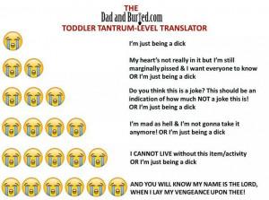 Toddler tantrum level translator