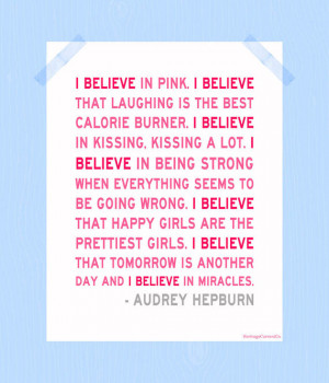 Believe in Pink Audrey Hepburn Print Quote Digital Print 11 x 14 ...