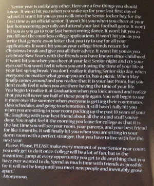 Senior year quote, definitely relate to most of it the rest will come ...