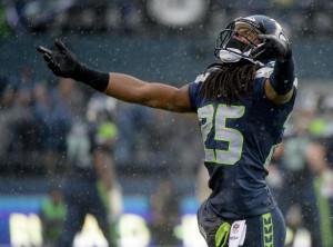 Cornerback Richard Sherman #25 of the Seattle Seahawks reacts in the ...