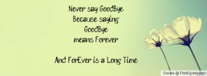 Never say GoodBye.Because saying GoodByemeans Forever...And ForEver is ...