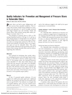 Quality indicators for prevention and management of pressure ulcers