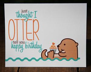 Birthday Otter Swimming otter birthday card,