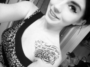 Shoulder Rose Wirh Quotes Tattoo for Girls
