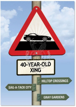 40 Year Old Crossing Funny Birthday Greeting Card