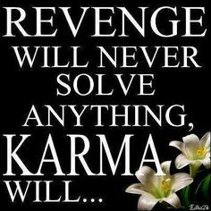 Revenge will never solve anything, karma will. More