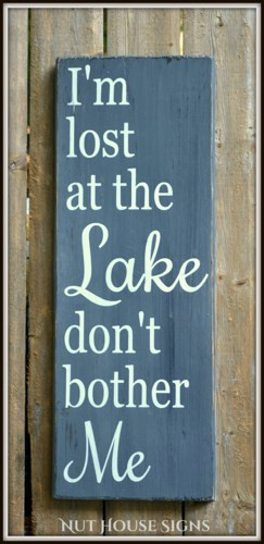 Lake Sign House Decor Gift Rustic Wood Cottage Cabin HandPainted Quote