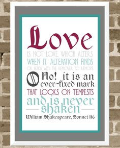 Love Poster - Shakespeare Sonnet Typography Poster - Wedding Quote ...