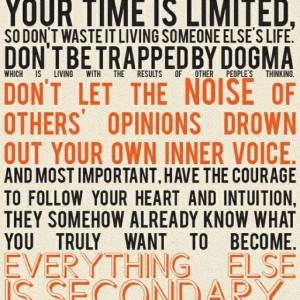 favorite quote. Steve Jobs.