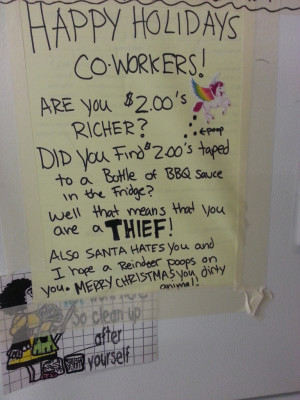 Happy Holidays Co-Workers! Are you $2 richer? Did you find $2 taped to ...