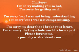 sorry i m sorry making you so sad i m sorry for getting mad i m sorry ...