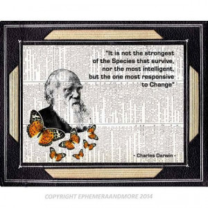 CHARLES DARWIN art print with Quote evolution natural science monarch ...