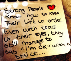 Strong People Know how to Keep Their life