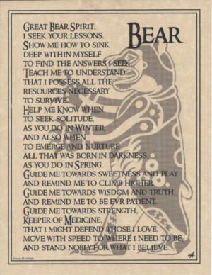 Bear Prayer Poster Animal Spirit Guide Art Print Celtic Wicca Native ...