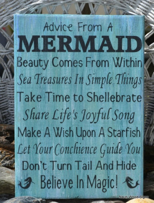 Beach Wooden Signs, Beach Decor, Girls Gift Idea, Mermaid Poem Quote ...