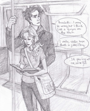 Percy getting distracted from distracting Annabeth from her homework ...