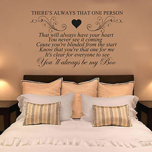 Details about USHER & ALICIA KEYS MY BOO, Quote Wall Art Sticker Decal ...
