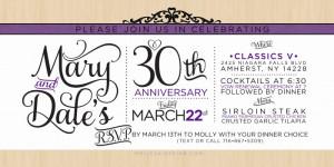 Mary & Dale 30th Wedding Anniversary Invitation