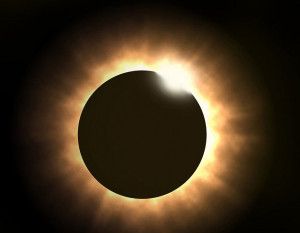 ... darkness resulting from a total eclipse when the moon covers the sun