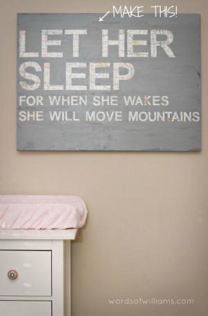 Let Her Sleep - Nursery canvas :: wordsofwilliams.com ::