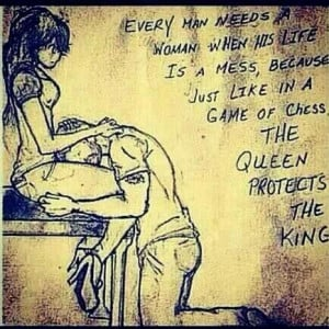 The queen protects her king.