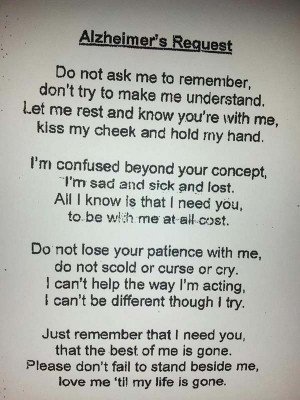 An Alzheimer's Patient's Request - This Will Make You Cry