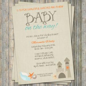 Beach Baby Shower Invitations