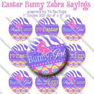 Zebra Easter Egg Bunny Sayings Bottle Cap Digital Set 1 Inch Circle