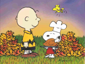 Charlie Brown poster with his dog