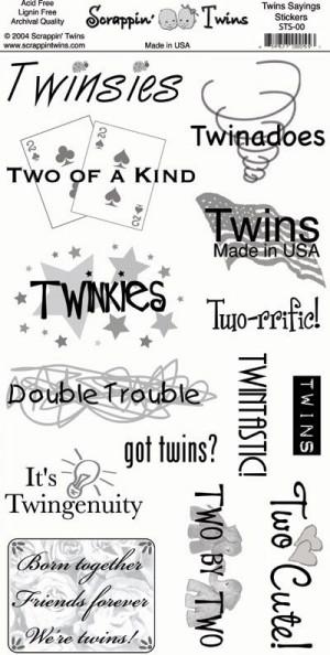 Twins Sayings Scrapbooking Sticker Sheet