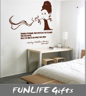 ... 90cm x 55cm vinyl-AUDREY HEPBURN & Quote Vinyl Wall Art Decal Stickers