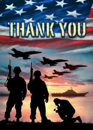 Patriotic Thank you Troops Military Servicemen Waving American Flag ...