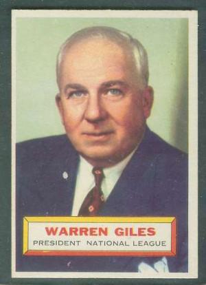 1956 Topps #..2 Warren Giles ROOKIE [#b] (N.L. President) Baseball ...