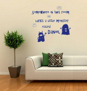 Somewhere In This Room Lurks A Little Monster Boy vinyl wall quote for ...