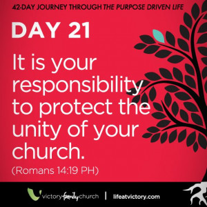 ... you personally doing to protect unity in your church family right now