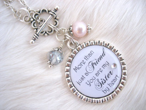 BRIDESMAIDS Sisters by Heart BEST FRIENDS Wedding Quote Necklace ...