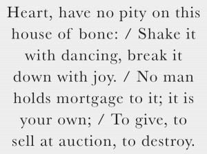 Edna St. Vincent Millay (part of Sonnet 29 from Fatal Interview ...
