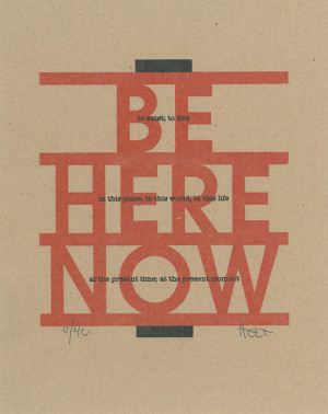 ... typography art Mid Century Modern Ram Dass letterpress style monoprint