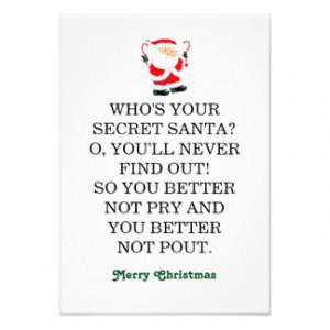 Secret Santa humor 3.5x5 Paper Invitation Card