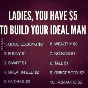 Ladies, You have $5 to build your ideal man.