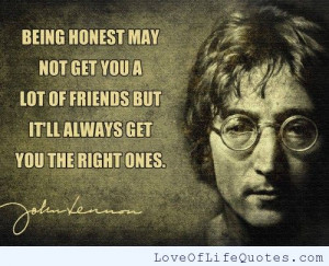 ... quote on being honest john lennon quote on life john lennon quote on