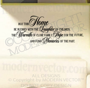 Details about MAY THIS HOME BE BLESSED Quote Vinyl Wall Decal ...