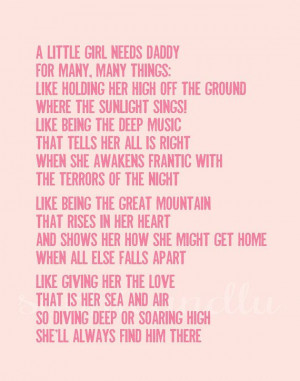 little girl needs Daddy quote printable poster by sophieandlu, $5.00