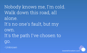 cold. Walk down this road, all alone. It's no one's fault, but my own ...