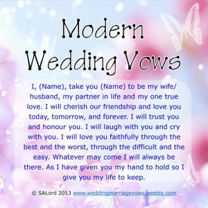 Modern Wedding & Marriage Vows