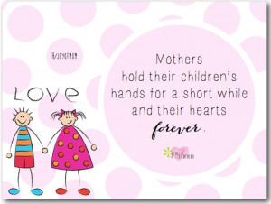 Mothers hold their children's hands for a short while and their ...