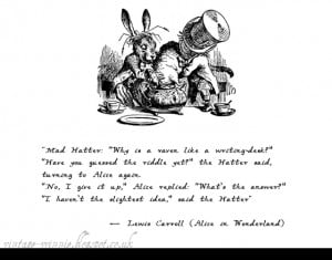 ... in Wonderland: Why is a Raven like a Writing Desk?' - Lewis Carroll